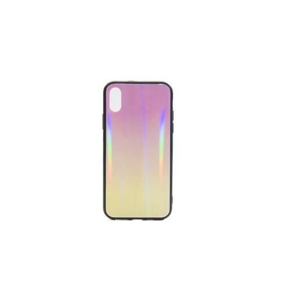 Husa Apple Iphone XS,Iphone X - Iberry Glass Roz/Galben